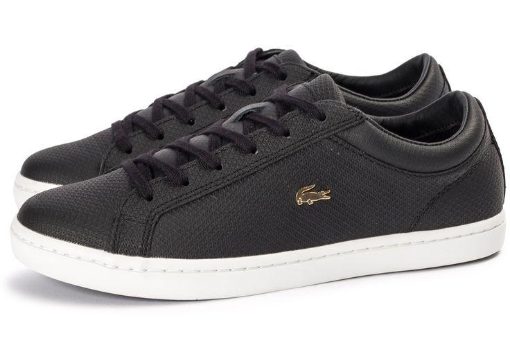 Chaussures Lacoste Straightset noire et or vue extérieure