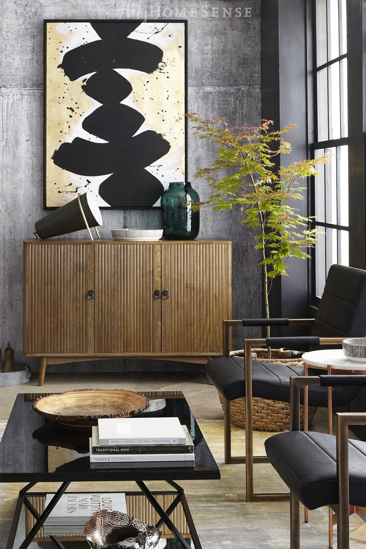In broad strokes, liven up an industrial space with bold wall art, like this black and gold #MyHomeSense masterpiece. From furniture to accessories, adding industrial style to your space is just a HomeSense trip away. Selection varies by store.  Designed/styled by Andrea McCrindle photography www.michaelnangreaves.com