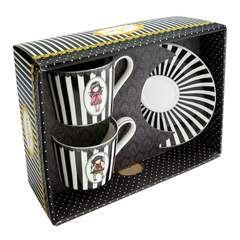 Porcelás teás készlet - Gorjuss - Stripe Collection - Ladybird - Ruby