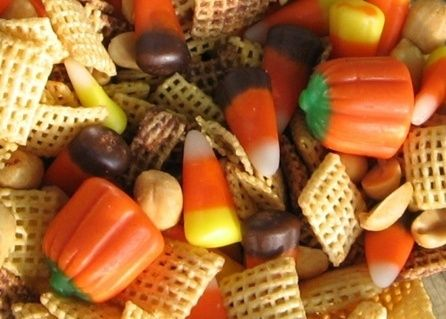 Fall Party Mix.  I could eat those little pumpkins all day every day!-Casey you could sub the peanuts for those coated sunflower seeds that are yellow, orange and brown!! Cute for school party!