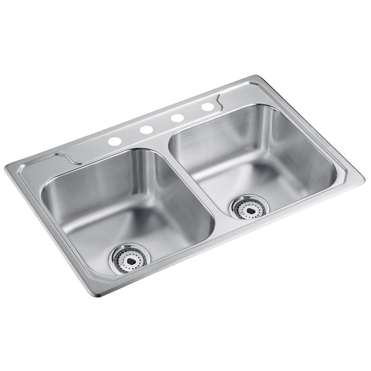 """Sterling 14708-4-NA 33 X 22"""" X 8"""" Stainless Steel Double Bowl Sink (Sink Ss 33x22x8 Dbl), Silver"""