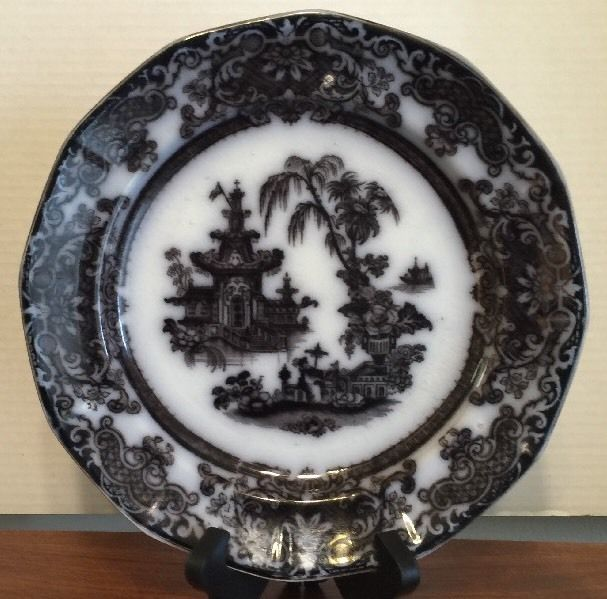 ANTIQUE PODMORE WALKER CO COREAN FLOW BLUE MULBERRY 9.75 PLATE 1834-59 EXCELLENT #PodmoreWalkerCo