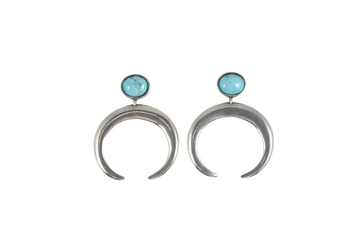 Crescent earrings in antique silver and turquoise