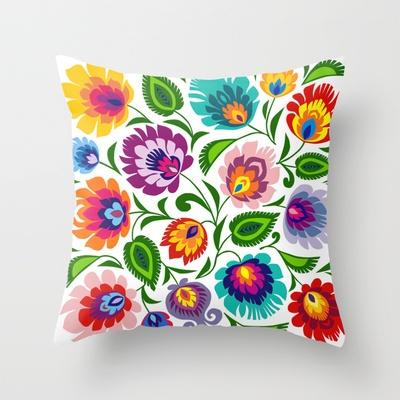 Folk Art Grassland Throw Pillow by bachullus - $20.00