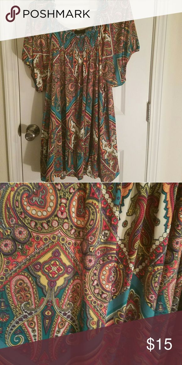Lane Bryant plus size 26/28 dressy top Plus size 26/28 dressy top with paisley print made by Lane Bryant. It cinches at the waist and very flattering!! Lane Bryant Tops