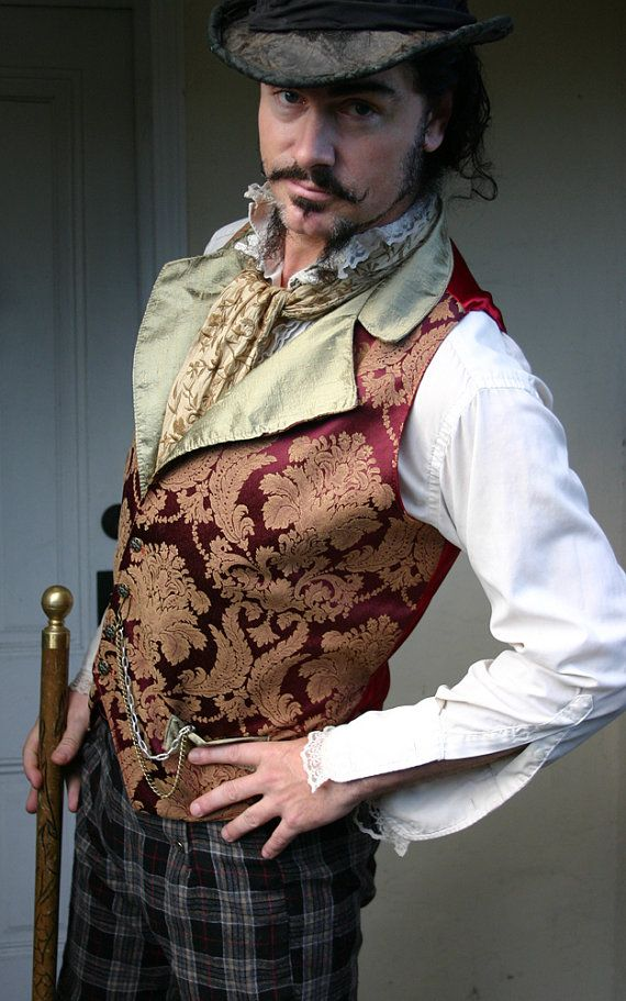 Red and Bronze Floral Tapestry and Silk Steampunk Victorian Lapeled Gentlemen's Vest