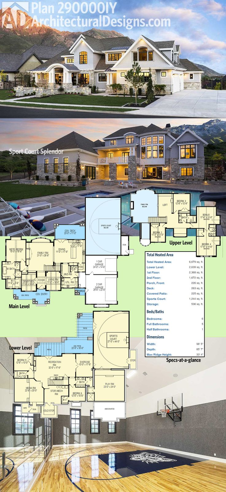 Architectural Designs Luxury House Plan 290000IY comes with a sport court in the lower walkout level.   6 beds, over 6,000 sq. ft. and incredible views out the back.    Ready when you are. Where do YOU want to build?  #sportcourt #luxuryhome #luxuryhouse #livinglarge