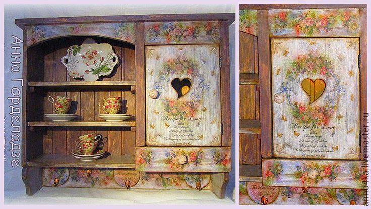"""Купить Подвесной шкаф в стиле """"Прованс"""" - комбинированный, для дома и интерьера, шкаф для загородного дома"""