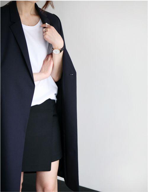 minimal wardrobe, white t-shirt, black skirt, black coat