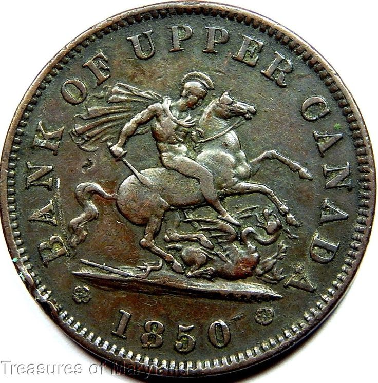 """""""St George the Dragon Slayer"""" 1850 BANK OF UPPER CANADA One Penny Sku #A90"""