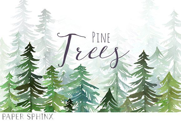 Watercolor Pine Trees Pack Tree Clipart Watercolor Trees