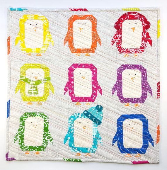 Penguin Parade quilt pattern - paper piecing block - mini quilt