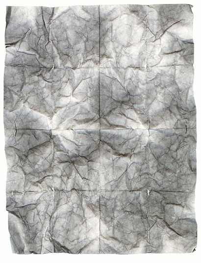 "by Chad Kleitsch. Works on Paper #42, 2004 Folded & crumpled found paper. Print size 42x54"" • Edition 1/6"