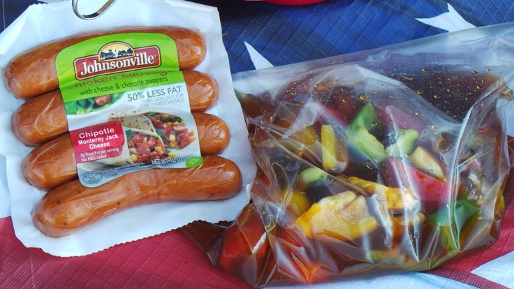 On the #BigTasteGrill we do more than just grill #brats ! These bell peppers, onions, and tomatoes marinating in a mixture of soy sauce, honey, and lime juice. This awesome combination will make our Chipotle Monterey Jack Cheese Chicken Sausage and Lime Kabobs! A cookout favorite! Recipe at Johnsonville.com