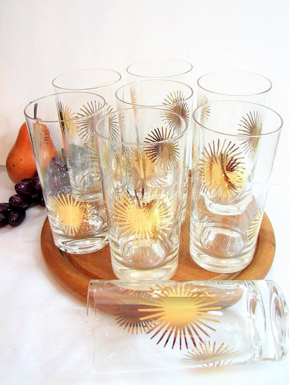 7a8d335e8c2b Mid-Century Highball Glasses, BAHAMAS Gold Atomic Starburst Glassware by  Federal Glass, 5