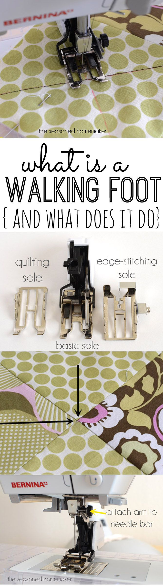 What is a WALKING FOOT and what does it do - http://www.seasonedhomemaker.com/sewing-machine-feet-the-walking-foot/  #sewingmachine