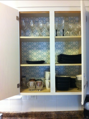 Wallpaper Shelf Liner. This Was A Quick Update For Old Kitchen Cabinets.