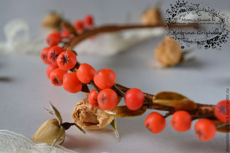 Купить Ободок с ягодками рябины из полимерной глины - оранжевый, ободок для волос, Рябина, ягоды, осень
