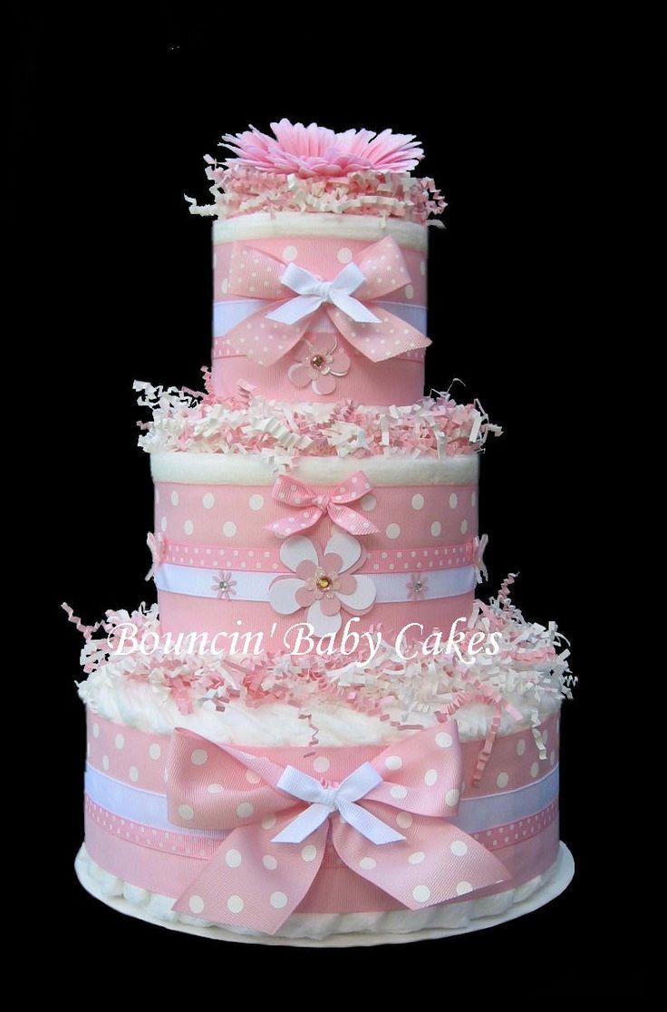 pink polka dots baby girl diaper cake windeltorte. Black Bedroom Furniture Sets. Home Design Ideas