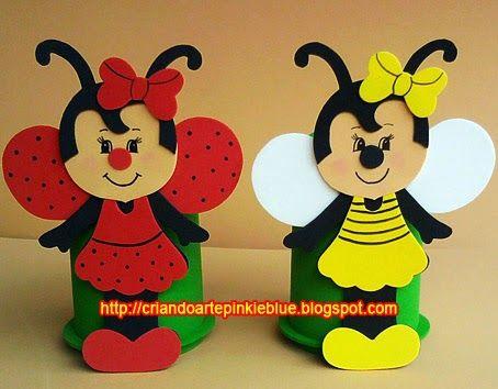 Pinkie Blue Artigos para festa: Joaninha e abelhinha e.v.a-Copinho Porta-treco desmontável