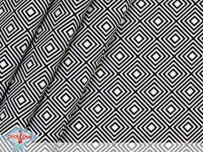 Stoff Geometrics - Square weiß / schwarz Ökotex Rauten