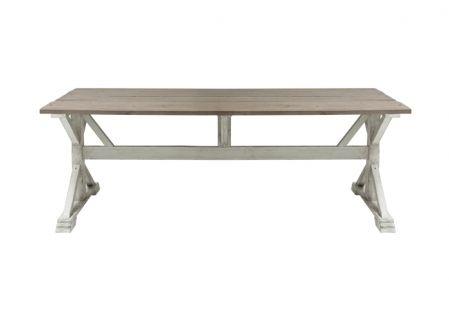 Matbord i återvunnet trä . Underredei antikvit färg.