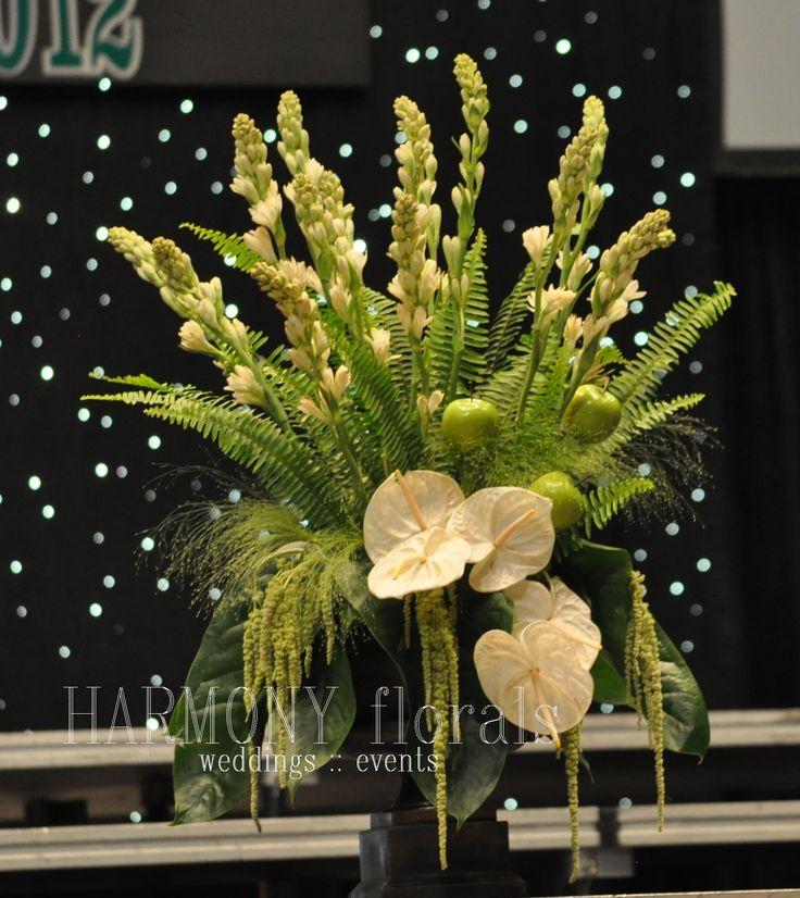 stage arrangement #tuberose #apples #anthirium