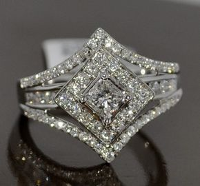 PRINCESS CUT SOLITAIRE DIAMOND WEDDING RING SET 1.4CT WHITE GOLD 3 IN 1 HALO