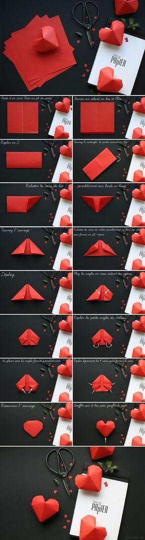 Come realizzare dei cuori di carta 3D con l'origami #carta #hobby #origami