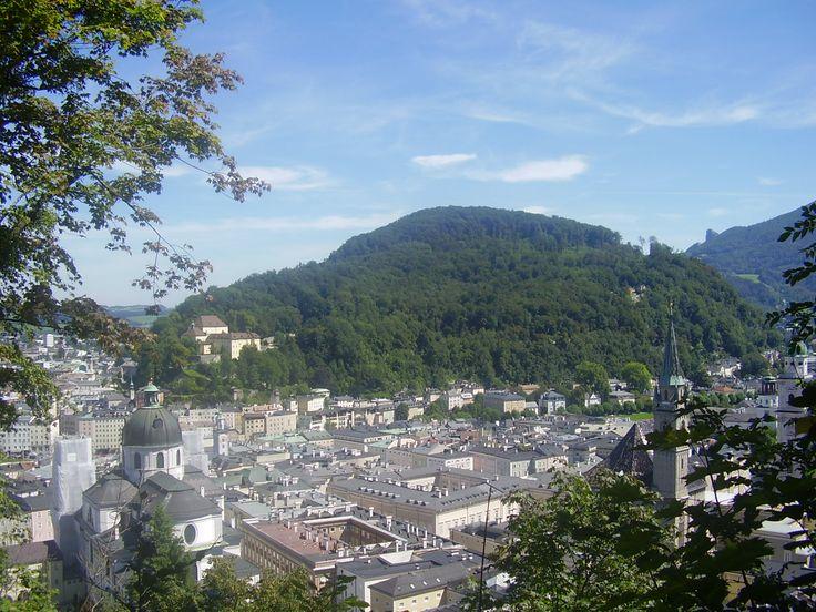 Salzburg Altstadt and Kapuzinerberg from Mönchsberg