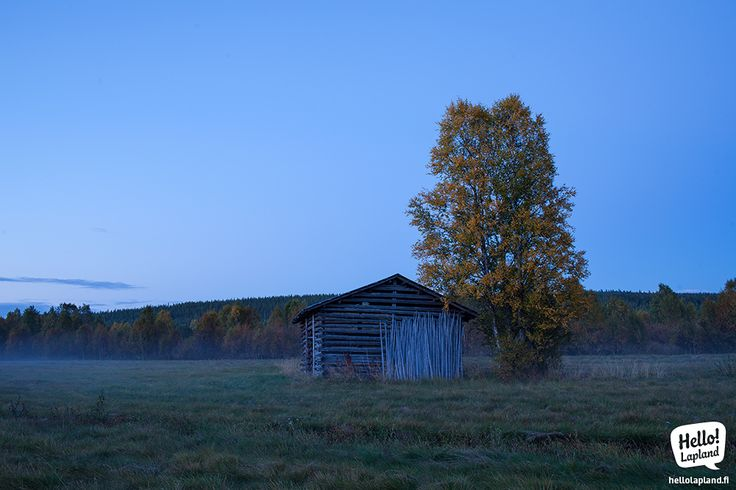 Old barn in a fog around Salla village close to the Eastern border of Finland.