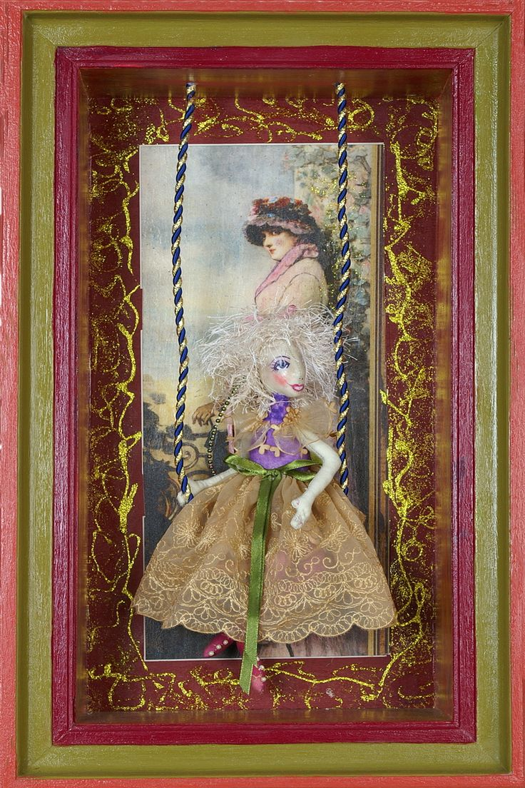 Doll in frame. Handmade by Edith Jochinke @ Thanks I Made it Myself. Workshops available. Contact Thanks I Made It Myself