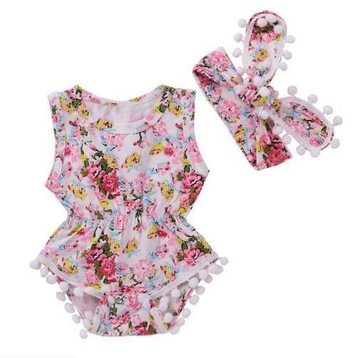 731c2d02a 2PCS Newborn Baby Girls Floral Headband+Bodysuit Jumpsuit Romper ...