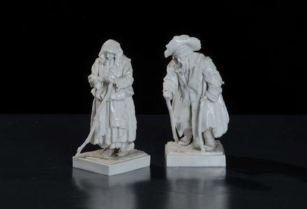 Coppia di figure in porcellana bianca,  Doccia Ginori XIX secolo