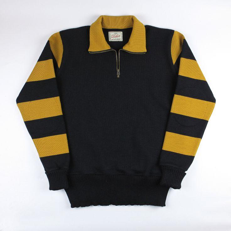Dehen 1920 Striped Club Quarter Zip (Black/Old Gold)