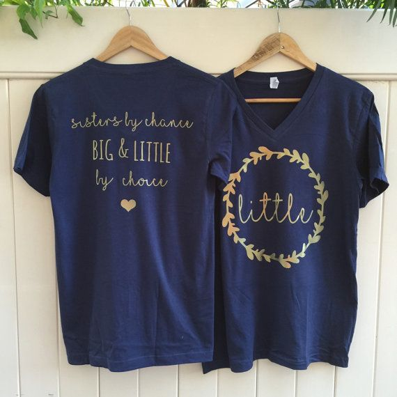 big and little sorority navy blue t-shirt