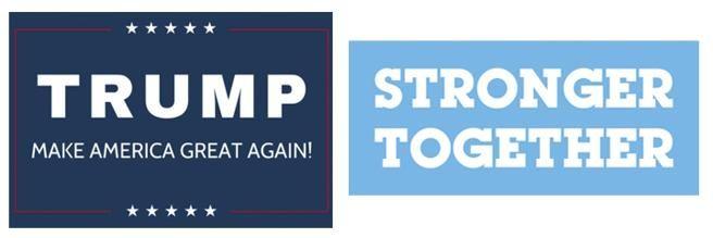 A la izquierda, el eslogan de campaña de Donald Trump. A la derecha, el de Hillary Clinton
