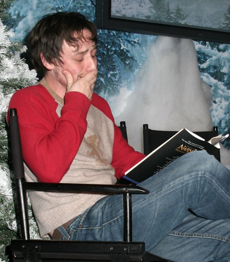James MaCavoy. Crying... While reading the Chronicles Of Narnia script... Oh for crying out loud.