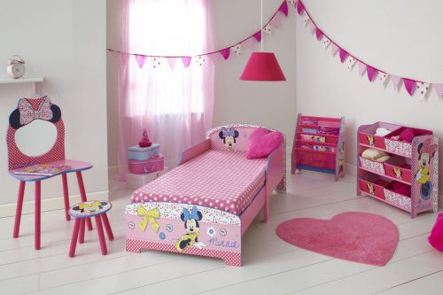 Picture of Girly Bedroom Design with Minnie Mouse Character #ModernHomeDesign #MinimalistHomeDesign #MinimalistInterior #ModernInterior #MinimalistHouse #MinimalistHome #HousePicture #HomePicture #ModernBedroom #MinimalistBedroom #BedroomPicture #BedroomDesign