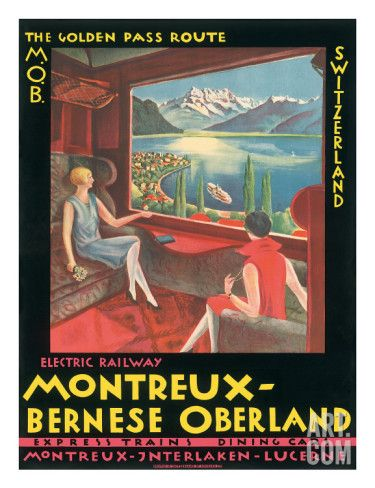 Art.fr - Giclée 'Montreux, Bernese Oberland Railway, Switzerland, c.1925'