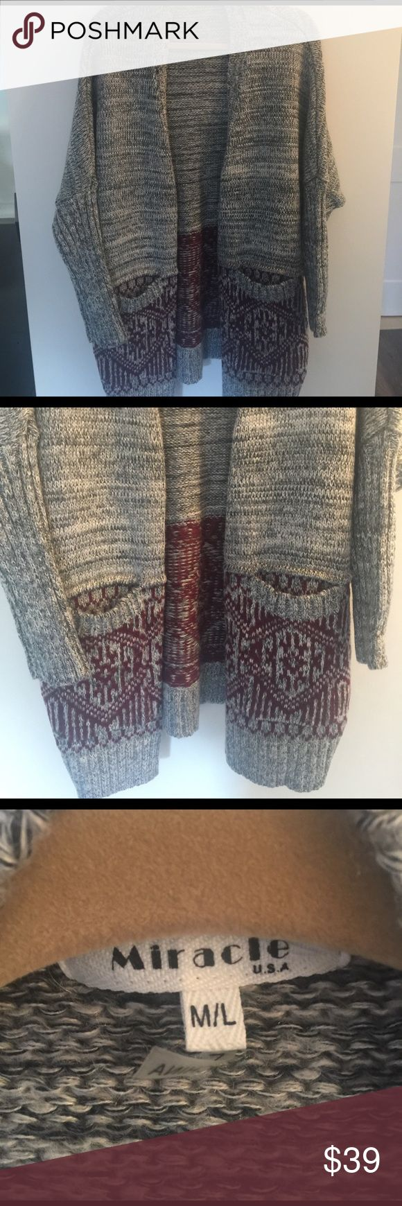 Miracle USA sz M/L gray sweater, aztec print Super cozy trendy black gray and white mixed blend long cardigan sweater with  Burgundy stitched in aztec like print perfect for ski weather over some leggings or skinny jeans or just to put on top of the pajamas and lounge around MIRACLE USA Sweaters Cardigans