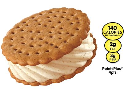 Skinny Cow Snickerdoodle Sandwiches -  Low fat cinnamon ice cream layered between two oatmeal cookie wafers. YUMMY!!!!!!