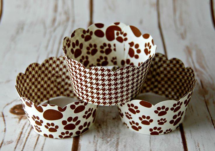 Paw Print Cupcake Wrappers, Reversible Cake Wraps, Dog Cupcake Decoration (set of 6)