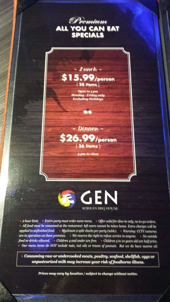 Photo of Gen Korean BBQ House - Honolulu, HI, United States. Prices; times; number of items; child prices; and other good info in small print