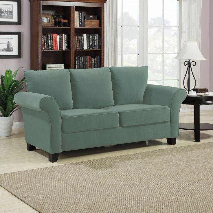 Handy Living Provant Turquoise Blue Velvet Sofa By Handy