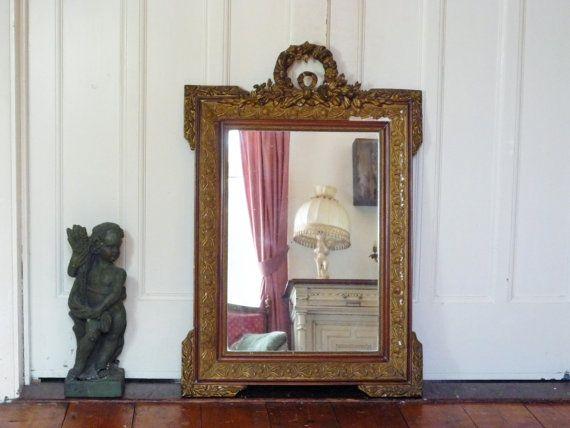 Gilt Gesso Antique French Mirror with Original by DazzleVintage