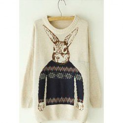 $8.55 Rabbit Pattern Cotton Color Matching Sweater For Women