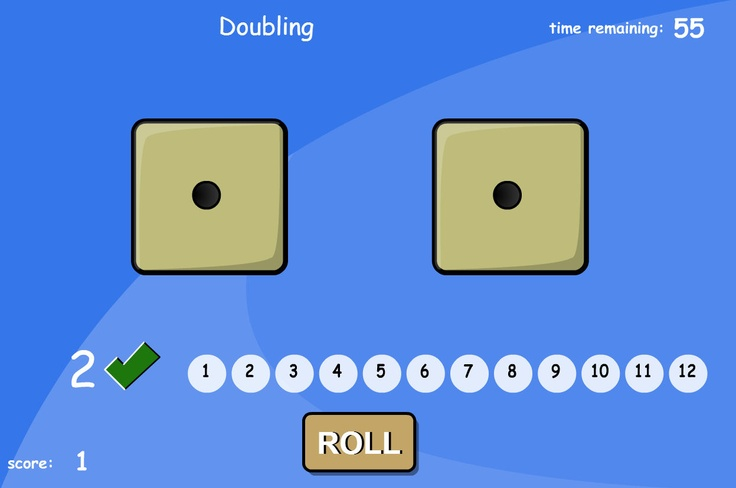 Add two numbers by rolling the dice. Double the dice ... or add to 10 or 12. Can be played with or without a time limit. For an alternative game with numbers rather than dots, try playing 'Adding Two Dice - Numbers Version'.