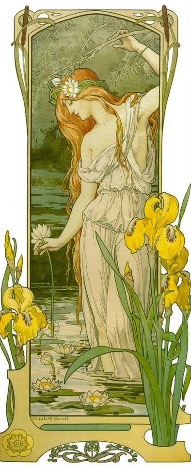 Fleurs des Eaux (Elisabeth Sonrel) inspired by Mucha