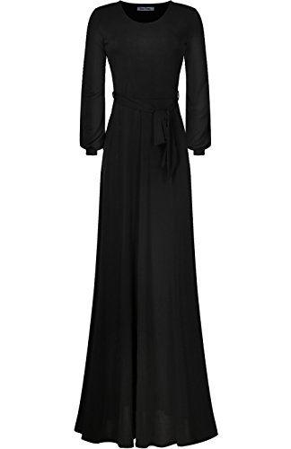 Bon Rosy Women s Cuffed Long Sleeve Round Neck Maxi A-Line Dress ... 65c01ef42
